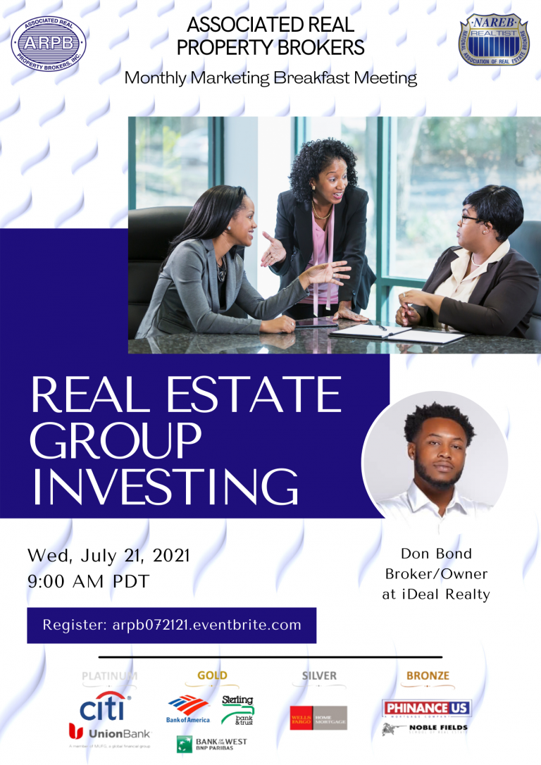 ARPB monthly markleting breakfast july 2021 - real estate group investing